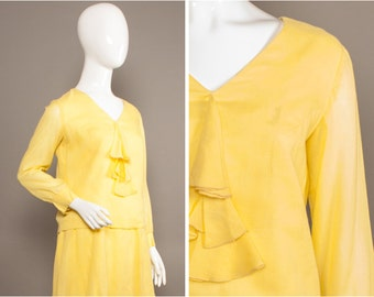 TWIGGY 60s Frill Front YELLOW Dropwaist Dress UK 12-14