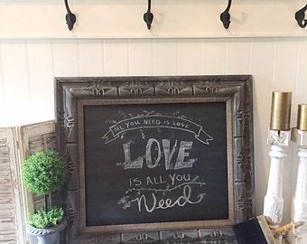 Rustic Chalkboard Wood Chalkboard Wedding Menu Board Burlap Framed Chalkboard Antique Chalkboard Kitchen Memo Board