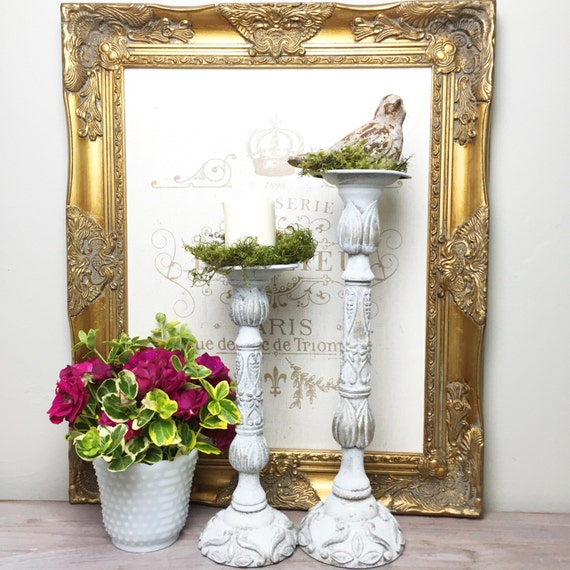 Tall pillar candle holders wedding table centerpiece shabby