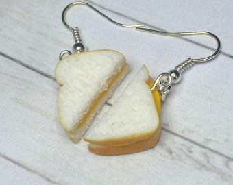 Cheese Sandwich earrings, miniature food jewelry, best friend earrings, polymer clay food, best friend food, grilled cheese sandwich earring