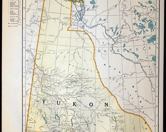 Yukon map etsy the yukon quebec united states vintage atlas map original color lithograph maps wonderful for display wall gumiabroncs Image collections