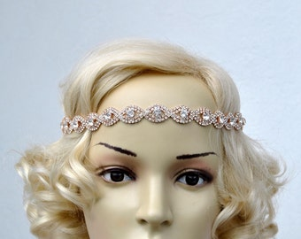 Rose Gold Rhinestone Headband Great Gatsby Headband Crystal Headband Wedding Halo Bridal tie on ribbon Headpiece 1920s Flapper headband