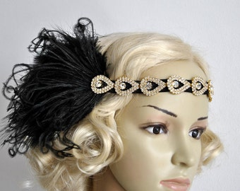 Ready to ship Gold Flapper Feather The Great Gatsby 1920s rhinestone Headband, Vintage Inspired,Wedding Bridal Baby Flower Art Deco headband