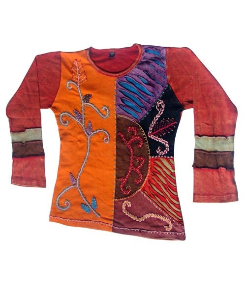 Hand crafted ladies t shirt patchwork and embroidered