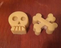 Set of 5 Lotion bars. Skull and cross bones lotion bars. All-natural lotion. Beeswax lotion bar.
