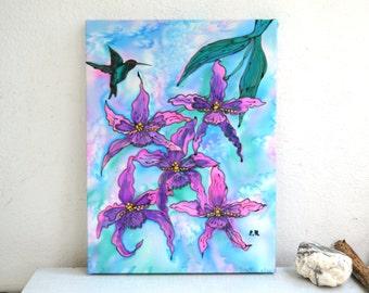 "hand painted silk picture painting batik silk panels ""flowers orchid"" . Hand-Painted Art. Картина панно на шёлке батик."