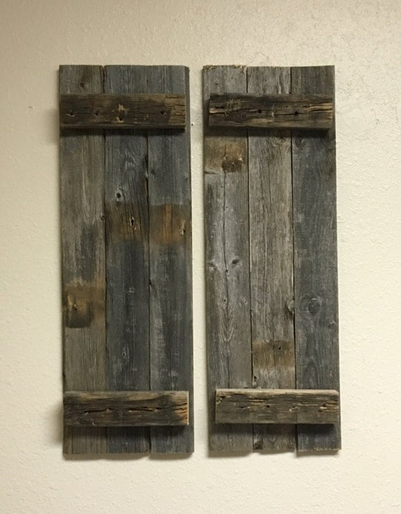 Barn wood rustic decorative shutter set of 2 for Barnwood shutters
