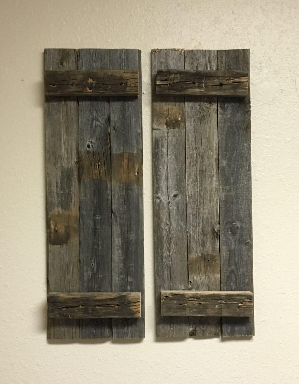 Decorative Metal Shutters For Living Room Interior Houston Tx: Barn Wood Rustic Decorative Shutter Set Of 2