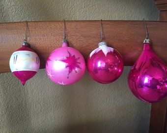 Vintage Pink Glass Ornaments 3 From Poland 1 Shiny Bright
