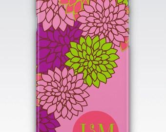 Case for iPhone 8, iPhone 6s,  iPhone 6 Plus,  iPhone 5s,  iPhone SE,  iPhone 5c,  iPhone 7,  Pink Dahlia Floral Pattern Monogram