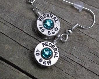 Bullet earrings, 40 caliber brass bullet casing dangle earrings with blue green crystals, redneck charm jewelry, bullet je
