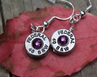 bullet earrings, 40 caliber brass nickel (silver) bullet dangle earrings, with purple swarovski crystals, bullet jewelry