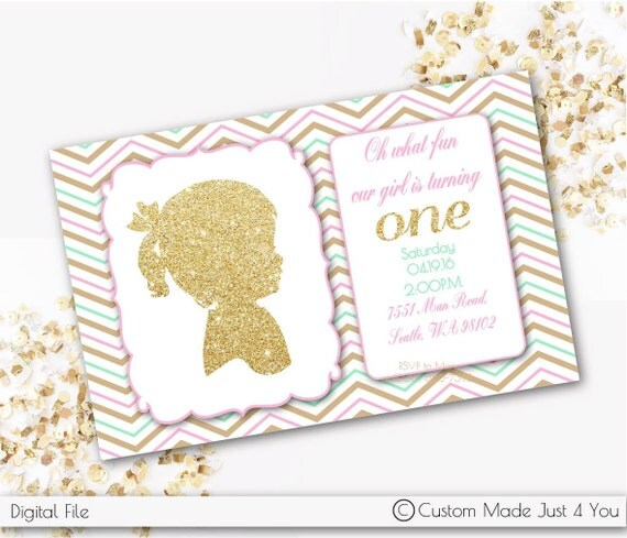 Chevron Baby Girl Silhouette Invitation, Cameo, Pink, Gold