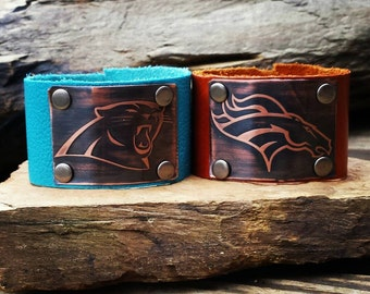 Etched Copper Leather Cuff- Super Bowl 50 Panthers or Broncos