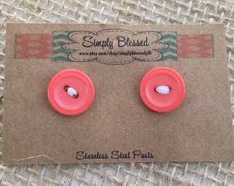 Vintage Coral Button Stud Earrings with Stainless Steel Posts