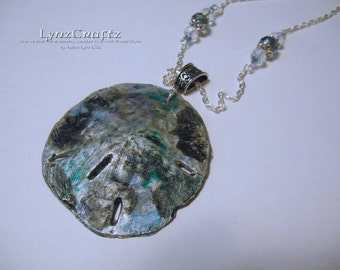Beachcombing silver & patina polymer clay pendant necklace charm resin one of a kind handmade