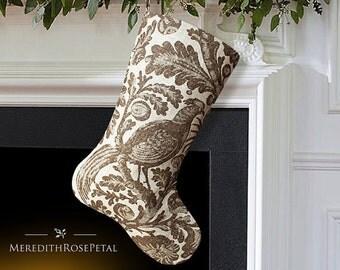 SALE! Linen Christmas Stocking, Linen Stocking, Brown Christmas Stocking, Bird Christmas Stocking, Neutral Christmas Stocking