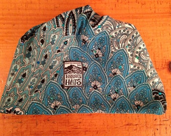 M/L Fleece Lined Hat in Turquoise Print with Sequins