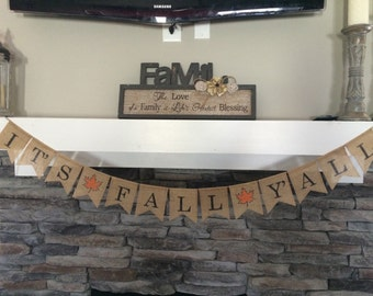 It's Fall Y'all Burlap Banner, It's Fall Y'all Sign, It's Fall Y'all Banner, Fall Burlap Banner