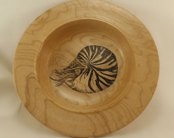 "Reclaimed Maple Bowl with Nautilus Pyrography, 1.5"" x 7.75"""