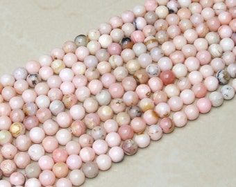 Pink Peruvian Opal Smooth Polished Bead - Pink Opal Bead - Peruvian Pink Opal Bead - Half Strand - 10mm