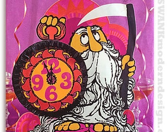 Vintage Mod Groovy Psychedelic Day-Glo 3D Father Time New Years Party Centerpiece