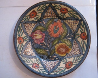 Stunning Handmade/Hand painted European Floral Pottery Plate
