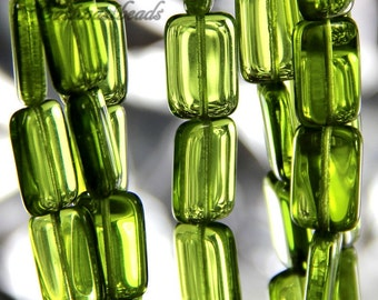 12 Rectangle Beads, Olivine Green W/Gloss Finish, 15 mm Czech Glass Rectangle Beads, 15X10mm, Accent Beads, Green Rectangle Beads, 12 Pieces