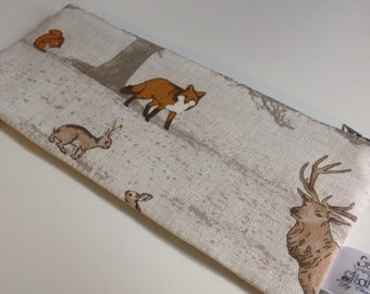 Woodland fabric cotton Pencil case pencil pouch zip bag back to school