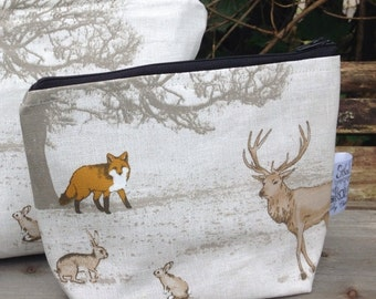 Woodland fabric cosmetic makeup zip up bag storage pouch