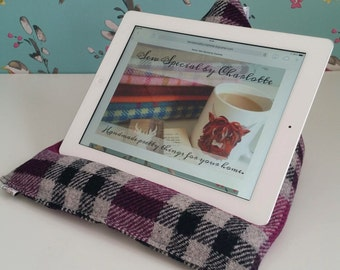 iPad / tablet / e-reader / technology beanie cradle, bean bag rest, lap cushion holder in purple check Harris tweed.