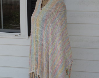 Handwoven poncho, Cotton poncho, Women's poncho, Fringed poncho, Summertime poncho, Sherbet colors, One size fits all, Hippie and Boho style