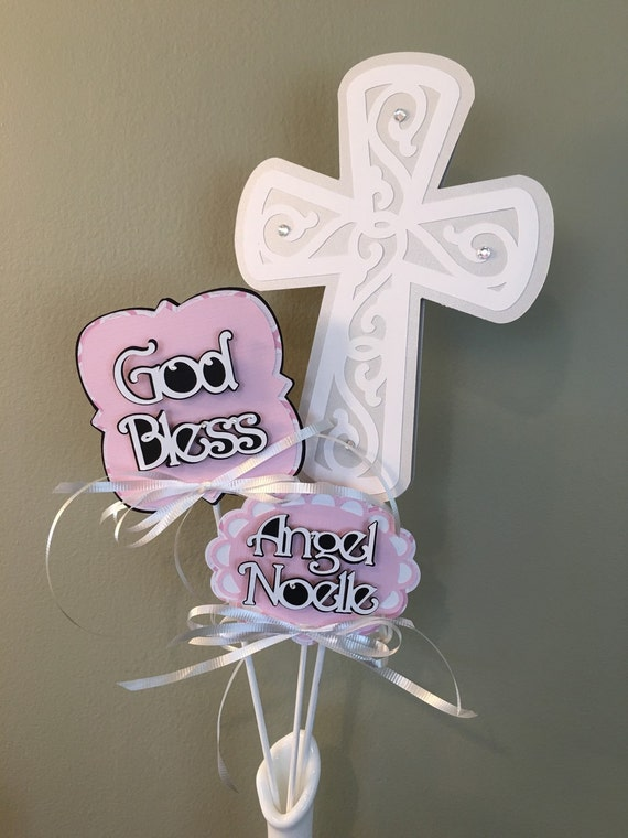 Baptism Picks, Christening Decoration Stick, Communion, Personalized Centerpiece Picks, 3D Pink Decoration, Baby Girl Name, God Bless, Cross