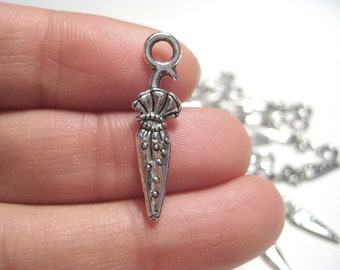 10pcs Antique Silver Umbrella Charms Pendants Double Sided 3D 25mm Craft  Supplies