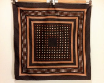 vintage dotted scarf brown and orange 1960s accessorie