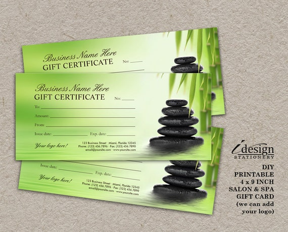 Salon And Spa Gift Certificates Printable Massage Therapist