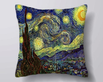 Vincent van gogh Painting Starry Sky- Cushion Fabric Panel Or Case or with Filling