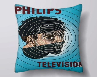 Philips Television Vintage- Customizeable Personlized   -Cushion Fabric Panel Or Case or with Filling