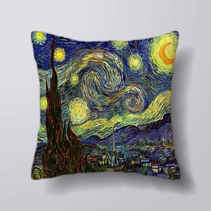 Vincent Van Gogh Painting Starry Sky Cushion Fabric Panel Or