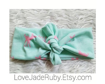 Mint and pink fawn topknot!