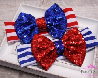 4th of July Headband, American Flag Headband, USA Headband, Sequin Headband, independence day, baby headband, messy bow