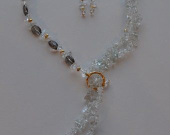 Rock crystal and smokey quartz necklace  with rock crystal earrings. Free shipping!