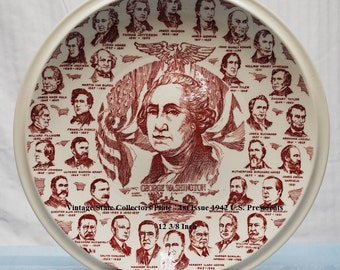 Vintage State Collectors Plate - 1st Issue 1942 U.S. Presidents - 12 3/8 Inch