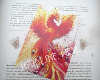 Card mailing Phoenix Bird of Fire Phoenix