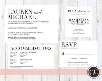 Modern + Elegant Wedding Invitation Suite