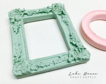 Mini Resin Frames in Pink, Sage or White. Small Frames. Scrapbook Frames. Dollhouse Frames.
