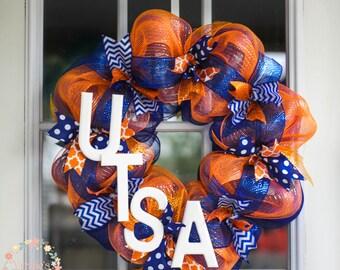 UTSA Deco Mesh Wreath, Orange and Blue, Roadrunners, Alumni, College Grad Wreath, Dorm Wreath, School Pride