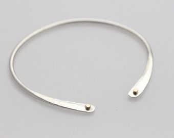 Hammered Sterling Silver Bracelet With 14k Gold Riveted Wire
