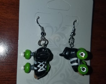 Roller derby skate earrings