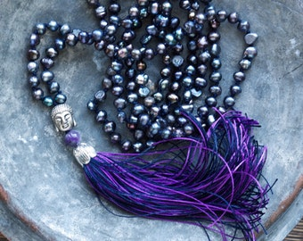 Purple tassel necklace | Extra long knotted pearl necklace | Boho necklace | Bohemian necklace | Buddha beads | Nomade style dark plum pearl